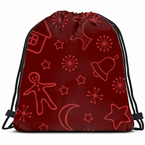 red christmas background illustrations clip art Drawstring Backpack Gym Sack Lightweight Bag Water Resistant Gym Backpack for Women&Men for Sports,Travelling,Hiking,Camping,Shopping Yoga