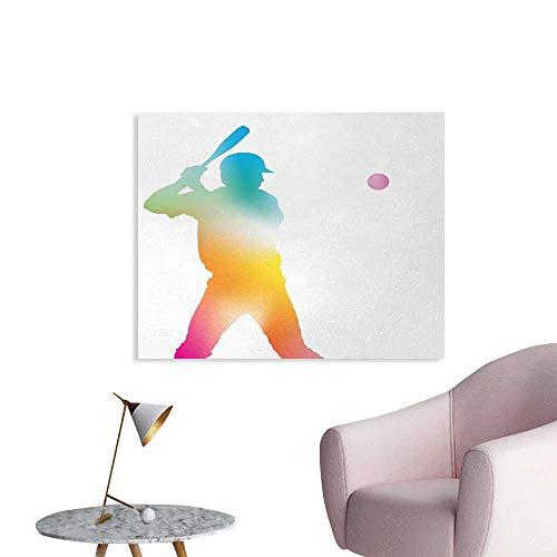 Tudouhoho Baseball Funny Poster Colorful Reflection of Baseball Player Batter Softball Hitter Swinging Arms Print Photographic Wallpaper Multicolor W36 xL32