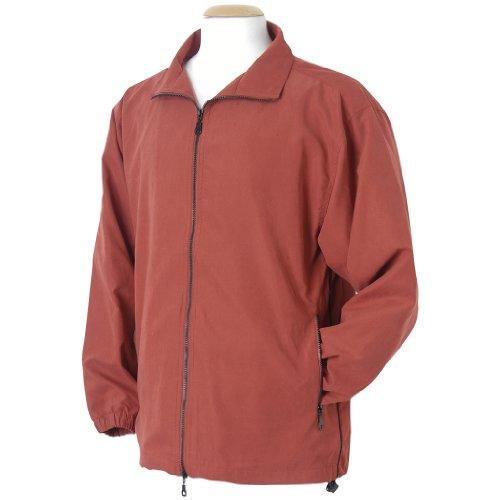 Monterey Club Mens Satin Peached Piping Detail Long Sleeve Jacket #1768 (Brick/Black, Large)