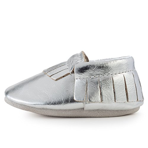 Dress Baby Back - BirdRock Baby Moccasins - 30+ Styles for Boys & Girls! Every Pair Feeds a Child (US 9.5, Silver)