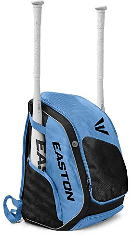 EASTON ELITE X Bat & Equipment Backpack Bag | Baseball Softball | 2019 | Carolina Blue | 2 Bat Sleeves | Vented Shoe & Equipment Compartments | Valuables Pocket | ()