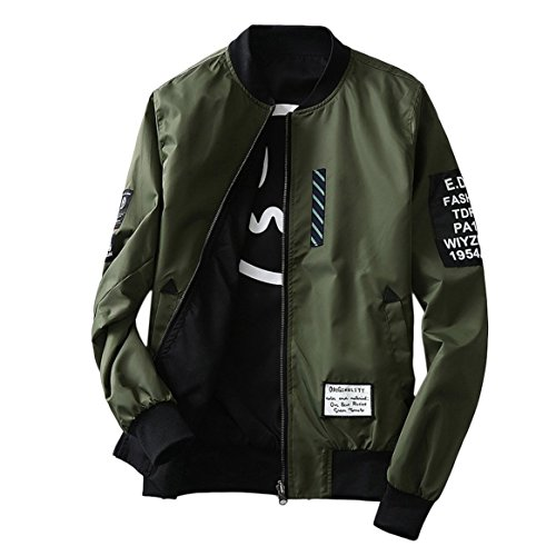 Bomber Jacket Fashion Men Jacket with Patches Both Side Wear Thin Bomber Jacket Flyer Overcoat Cloth Wind Breaker Jacket
