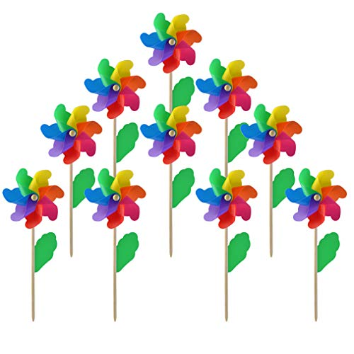 (Yolyoo 10pcs Wooden Stick Pinwheels,Windmill Party Pinwheels DIY Pinwheels Set for Kids Toy Garden Lawn Party)