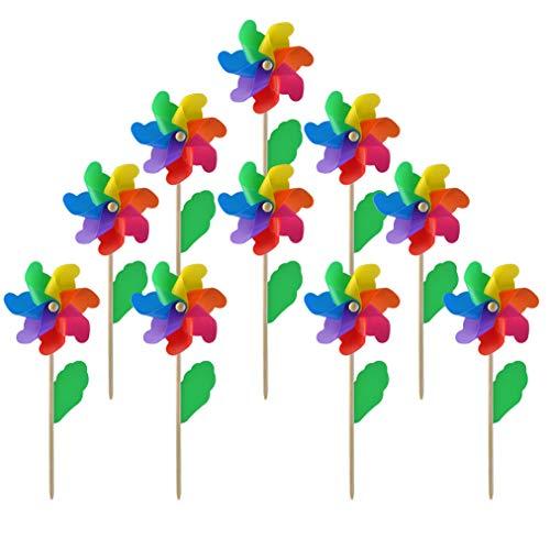 (Yolyoo 10pcs Wooden Stick Pinwheels,Windmill Party Pinwheels DIY Pinwheels Set for Kids Toy Garden Lawn Party Decor)