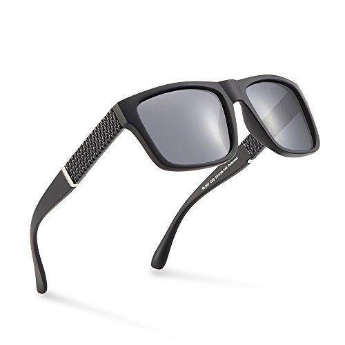 2020Ventiventi Sunglasses for Men Polarized Black/Smoke Square Lens Full Frames Sun Glasses UV Protection for Driving - Sunglasses For Wide Men