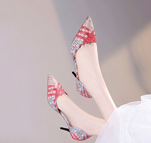Summer Pointed Red Mouth Hollow Heels High Shallow Sandals Female Sexy Wedding Fashion Retro Shoes qO8tFxwB