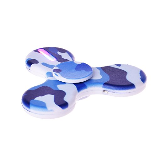 LEEHUR LED Fidget Spinner with Micro-USB Charger EDC Tri Hand Spinner Toy High Speed Stress and Anxiety Relief Toy Camouflage Blue