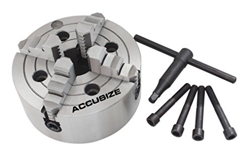 "Accusize Industrial Tools 8"" 4-Jaw Independent Lathe Chucks, Plain Back, Semi-Steel Body, Including 1 Set Of Reversible Jaws, 0557-0008"