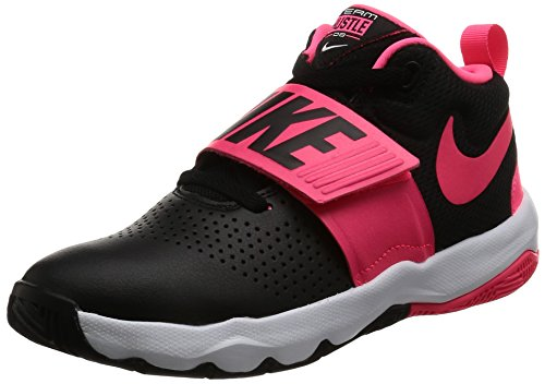 Nike Boy's Team Hustle D 8 (GS) Basketball Shoe Black/Racer Pink/White Size 6 M US