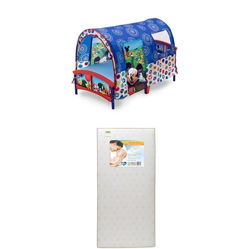 Delta Children Toddler Tent Bed, Disney Mickey Mouse with Twinkle Stars Crib Toddler Mattress