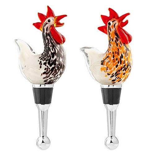 Glass Rooster Wine Bottle Stopper Set ()