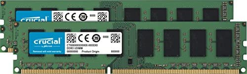 Crucial Technology 16 GB, 2x 8 GB, 240-Pin UDIMM DDR3, PC3-14900, Server Memory Module Kit, CL=13, Unbuffered, 1866 MT/S Speed, Non-ECC, 1.35V