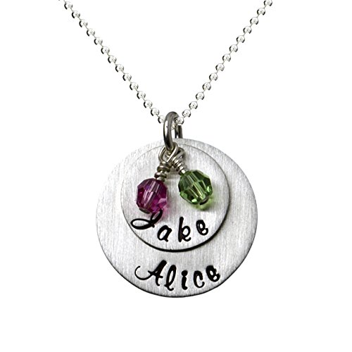 (My Two Joys Personalized Sterling Silver Name Necklace. Customize with Your Choice of Characters. Matted Finish. 2 Swarovski Birthstones. Includes Sterling Silver Chain. Gifts for Her, Mother,)