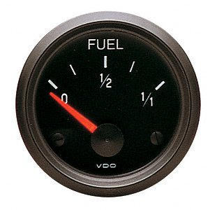 VDO 301015 Cockpit Style Electrical Fuel Level Gauge 2 1/16' Diameter For Select Senders, 10û 180 Ohms, Black Dial Face 301-015D