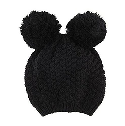 Dealzip Inc® Chunky Stretch Cute Mickey Mouse Ear Design Winter Warm Soft Cable Knit Women Beanie Cap Hat ()