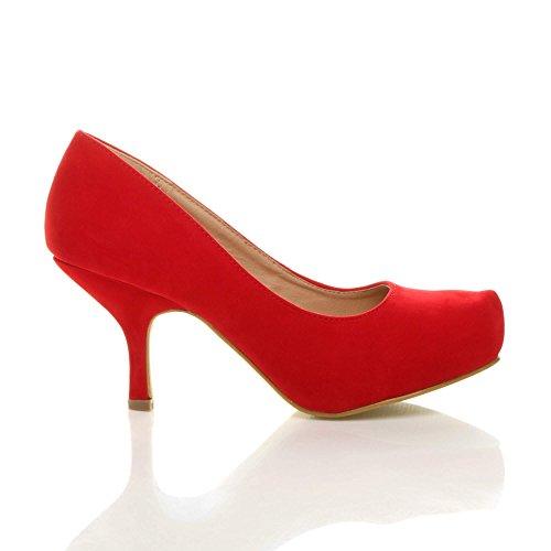 Daim chaussures bas talon escarpins soignée moyen à taille Femmes travail élégant Rouge wFvHp8nq