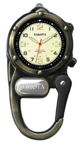 Dakota Watch Company Watch Mini Clip with Microlight, Antique Gold (Clip Watch Dakota Mini)