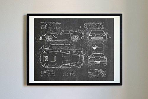 - DolanPaperCo #250 Corvette Stingray C7 2013 Art Print, da Vinci Sketch - Unframed - Multiple Size/Color Options (17x22, Blackboard)