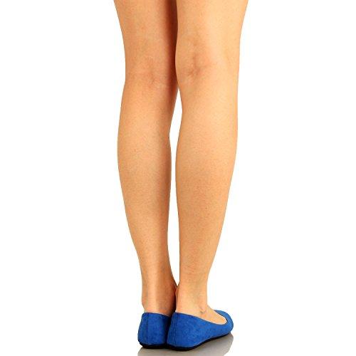 Guilty Schuhe Damen Comfort Round Toe Slip auf Ballett Wohnungen Schuhe Wohnungen 01 Rblue Wildleder