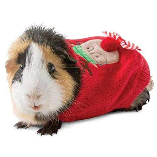 Merry & Bright Guinea Pig Small Pet Reindeer Sweater Holiday Christmas Costume Clothes Accessories Funny Cute (Sweater For Guinea Pig)