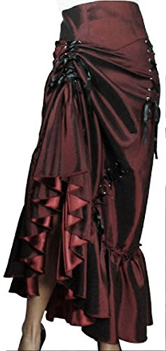 Burgundy Victorian Sateen Skirt