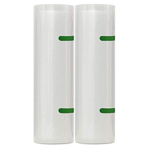 11″ x 16.5′ Vacuum Sealer Bags Roll 2 Pack for Food Sous Vide or Storage Saver, Compatible with Vacuum Sealers, Vacuum Seal Rolls for Food Preservation and Cooking