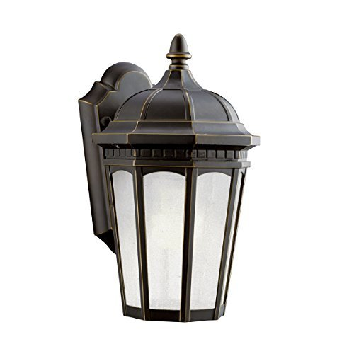 Kichler Lighting 11010RZ Courtyard 1-Light Fluorescent Outdoor Wall Mount Lantern, Rubbed Bronze with Etched Seedy Glass by Kichler