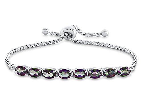- Finejewelers Sterling Silver Slider Chain Adjustable Bracelet with 8 Oval Mystic Topaz Stones