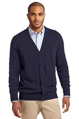 Port Authority Men's Value V Neck Cardigan Sweater with Pockets XL Navy -