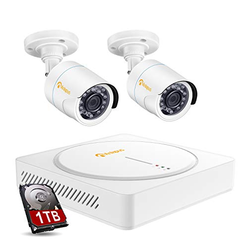 Anlapus 4 Channel 1080P Outdoor Security Cameras DVR System CCTV Recorder with 1TB Hard Drive, 2PCS 2MP Night Vision Bullet Surveillance Camera for Homes, Easy Remote Access on Smartphone