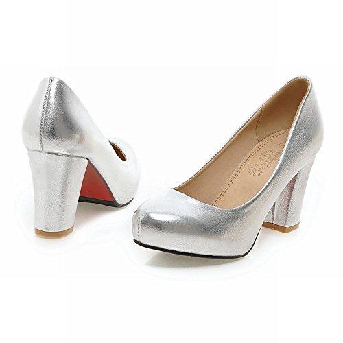 Zapatillas con transporte de bloque Carolbar dulce para mujer plata tacón corte de alto qX6XwrS