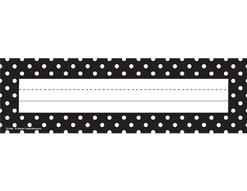 Teacher Created Resources Black Polka Dots Name Plates (4001)