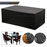 OOFIT Square Table Cover Garden Furniture Covers Waterproof Protective Garden Cover for Furniture Table, Waterproof Windproof and Anti-UV Outdoor Cover, 270 x 180 x 89CM