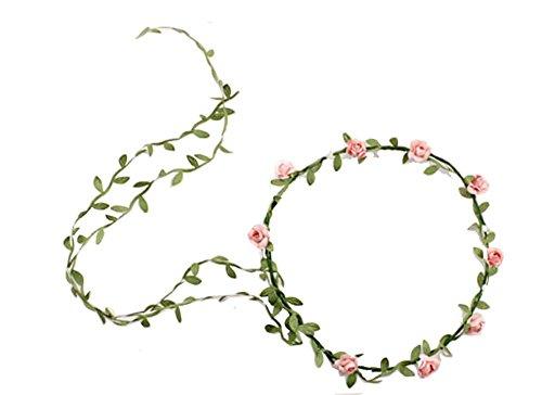 Kewl Fashion Flower Garland Berries Crown Headband Flower Wreath for Wedding Festivals (Peach Crown)