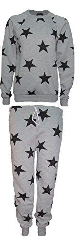 Nueva Womens Mujer–Estrella Cielo Entrenamiento trajes Sudadera Pantalón Pantalón Grau mit schwarzen Sternen/ Grey with Black stars