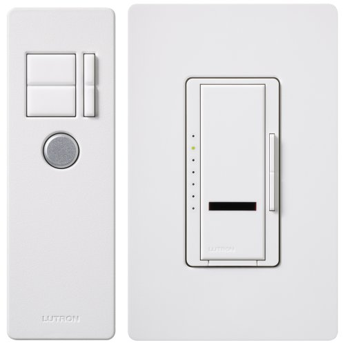 Lutron Maestro IR Dimmer Switch for Incandescent and Halogen Bulbs, Single-Pole, with IR Remote Control and Wallplate, MIR-600THW-WH, White ()