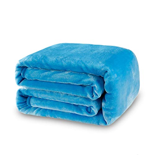 Balichun Luxury 330 GSM Fleece Blanket Super Soft Warm Fuzzy Lightweight Bed or Couch Blanket Twin/Queen/King Size(King,Lake Blue)