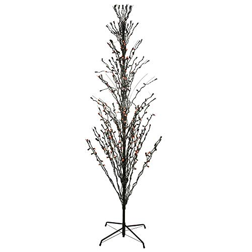 NorthLight 4 ft. Orange LED Lighted Halloween Cascade Twig Tree Outdoor Yard Art Decoration