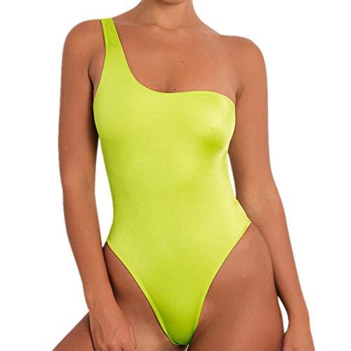 (POHOK Women Sexy Sport Bikini Single Shoulder Strap Bathing Beachwear Backless Swimwear(L,Yellow))