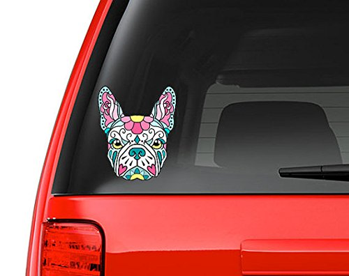 French Bulldog Sugar Skull Pink and Blue Full Color Art Vinyl Auto Decal Sticker or any Smooth Surface (French Bulldog Sticker compare prices)