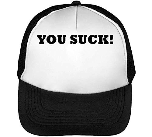 You Suck Black Fonted Funny Slogan Gorras Hombre Snapback Beisbol Negro Blanco