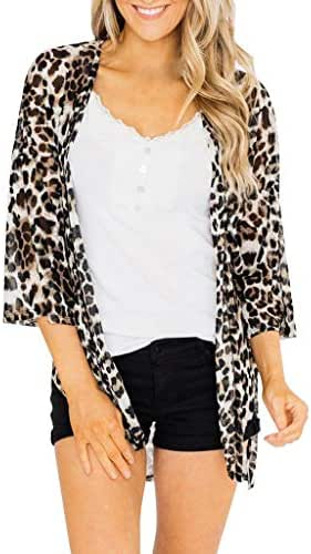 Ultramall Kimonos for Women 3/4 Leopard Cardigan Print Open Front Cover Up Tops Jacket Work Office Blazer