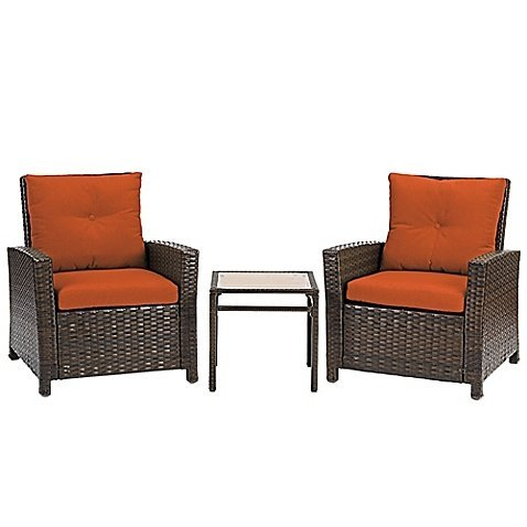 Sturdy Barrington 3-Piece Wicker Club Chair Set with 2 Cushioned Chairs and Accent Table (Terracotta) (Furniture Pallet Garden Table)
