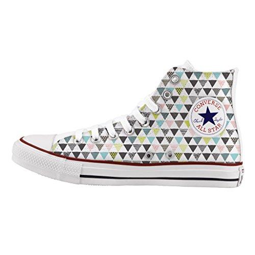 Converse Personalizzate All Star Alta - scarpe artigianali - stampa Colored triangles Envío Libre Barato Mejor Tienda A Comprar Barato En Línea EFtRPo