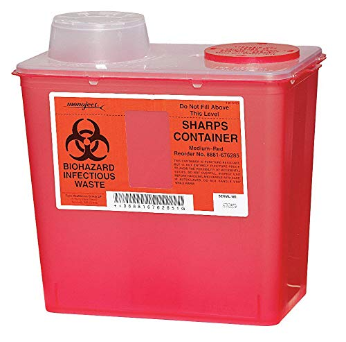 Covidien Sharps Container, 2 Gal, Chimney Top, PK5 Red Plastic 0SCM019285-1 Each (Container Midwest Red)