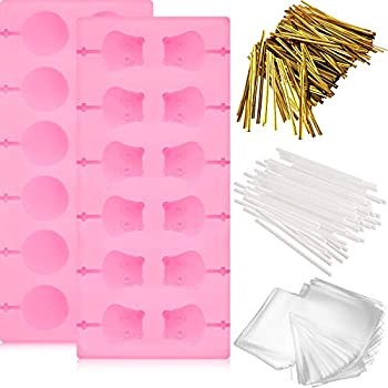 2 Pieces Silicone Lollipop Molds Chocolate Candy Mold with 72 Pieces Lollypop Sucker Sticks 100 Pieces Candy Treat Bags and 760 Pieces Gold Ties