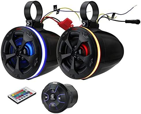 4 800W Active Passive Marine Grade Wakeboard Tower RGB Speakers System w//Bluetooth Controller Full Range Stereo Speaker for ATV//UTV Jeep Boat Pyle PLUTV48KBTR 2-Way Waterproof Off Road Speakers