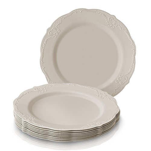 Metal Ware Collection - PARTY DISPOSABLE 20 PC DINNERWARE SET | 20 Dessert Plates | Heavyweight Plastic Dishes | Elegant Fine China Look | for Upscale Wedding and Dining (Vintage Collection – Cream | 7.5 Inch)