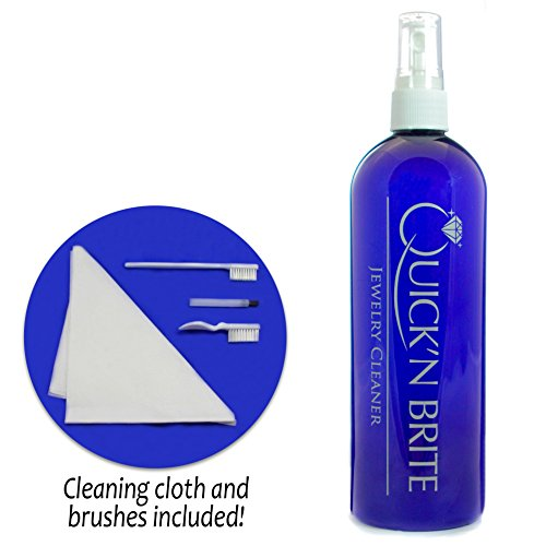 Jewelry Cleaner Kit by Quick'n Brite, 16 oz - Ring and Jewelry Cleaner Solution; Includes free cleaning cloth and brushes; Clean Silver, Gold, Diamond, Metal and more