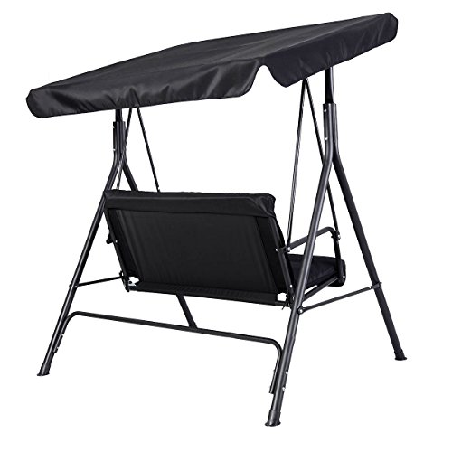 Goplus Patio Swing Outdoor Canopy Awning Yard Furniture Hammock Steel Black 2 Person